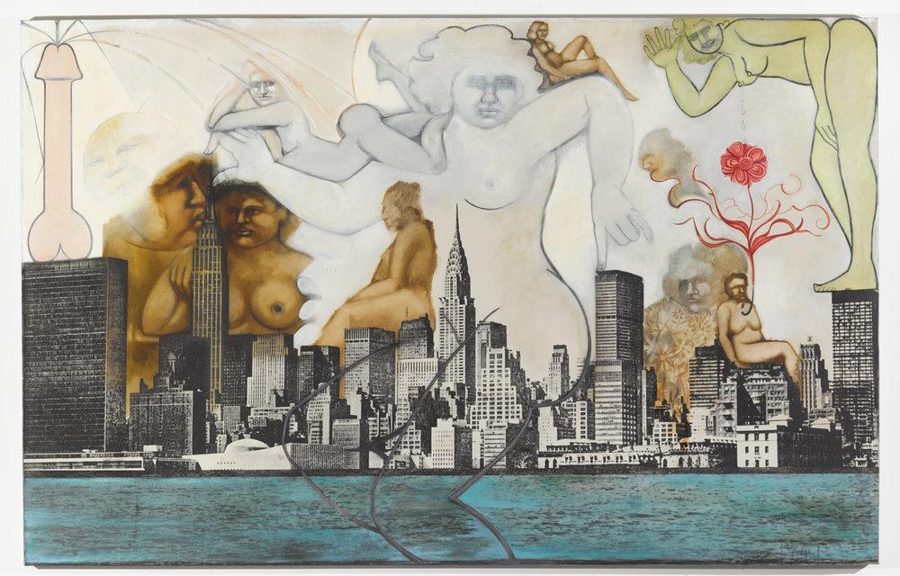 NITA STECKEL  (1930-2012) New York Landscape (Woman Pressing Finger Down), c.1970-80, serigrafía, óleo y collage sobe tela, 162.6 x 254 x 7.6, ©Anita Steckel, cortesía del estate de Anita Steckel y de Suzanne Geiss Company, Nueva York