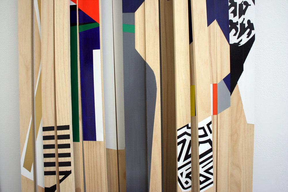 The Line Up  , 2011, acrílico y esmalte sobre pino, cortesía del artista.