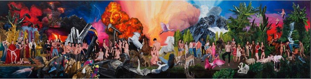 Historia violenta y luminosa. Óleosobre tela 300 x 1190cm. 2016