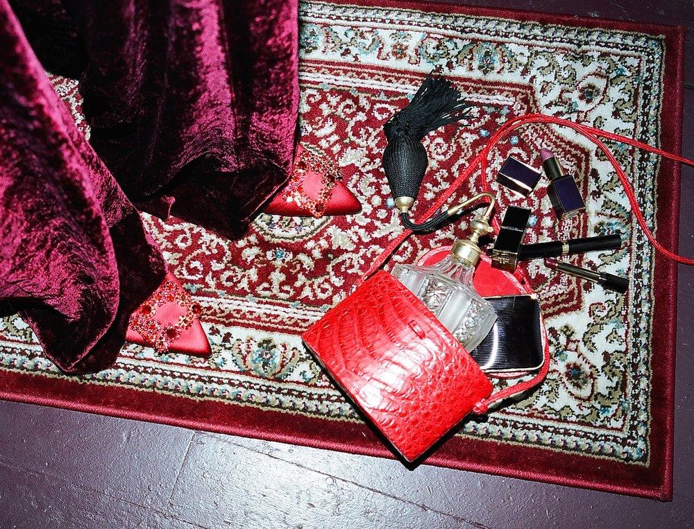 Bolso de  HUNTING SEASON , pantalón de  ETRO , salones de  ROGER VIVIER , perfume de  AEDES , maquillaje de  TOM FORD .