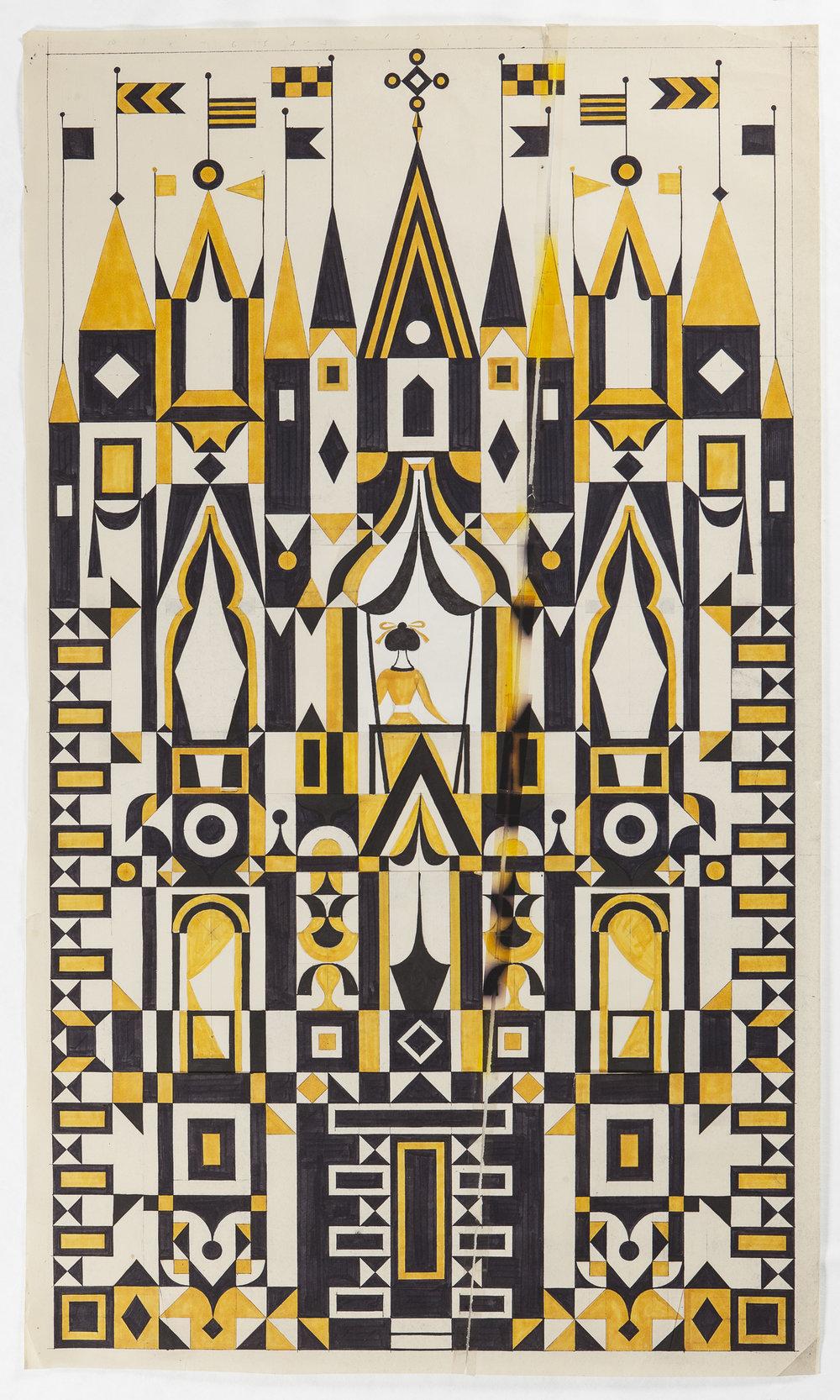 Diseño gráfico para panel de textil, 63 x 110,  Alexander Girard , principios de 1970 /Fotografía de Andreas Sütterlin, cortesía del patrimonio de Alexander Girard y de Vitra Design Museum, Alemania.