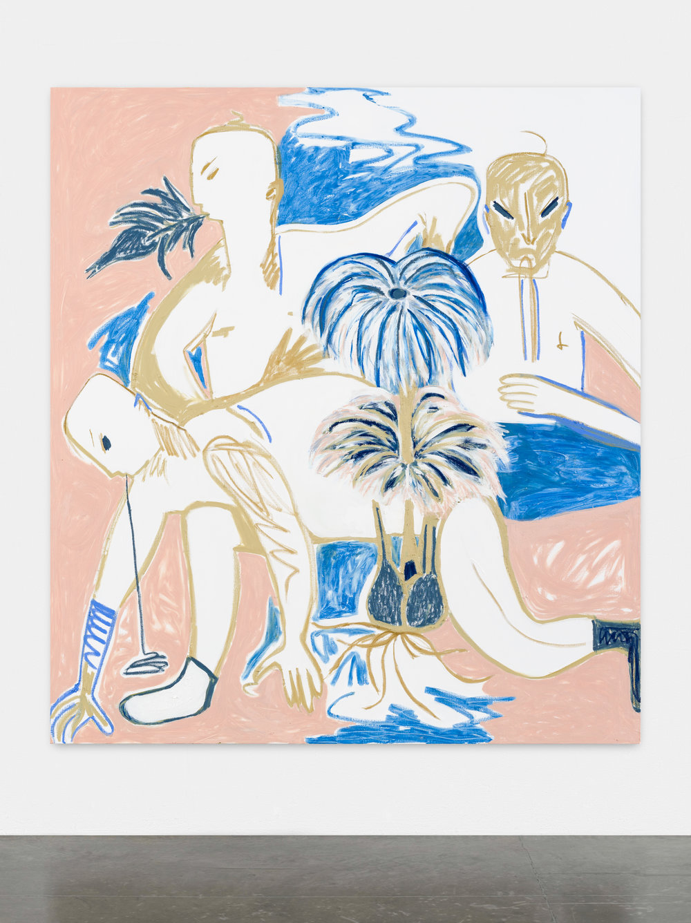 MELIKE KARA  (1985)  Sin título , 2015, acrílico y crayón de óleo sobre lienzo, 200 x 180, cortesía Peres Projects, Berlín.