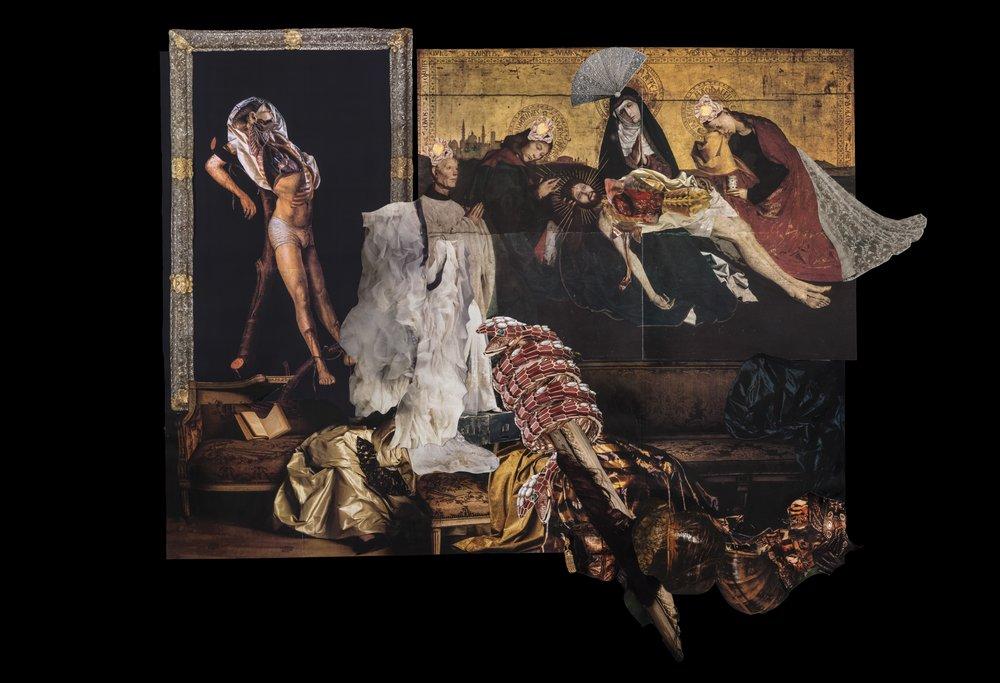 Sin título,  2017, collage, 64 x 73. Imagines de revistas y catálogos de historia del arte, moda, medicinas y la colección Museo La Specola. Catálogo de joyería Bvlgari.
