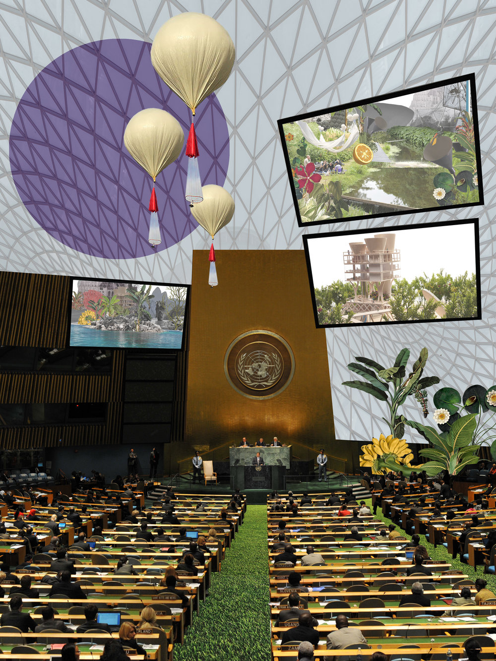 La isla no participará en la política global. Sin embargo, en su único acto diplomático, Félix González-Torres representará simbólicamente a la isla ante Naciones Unidas, para destacar la empatía, lo efímero, la interdependencia.