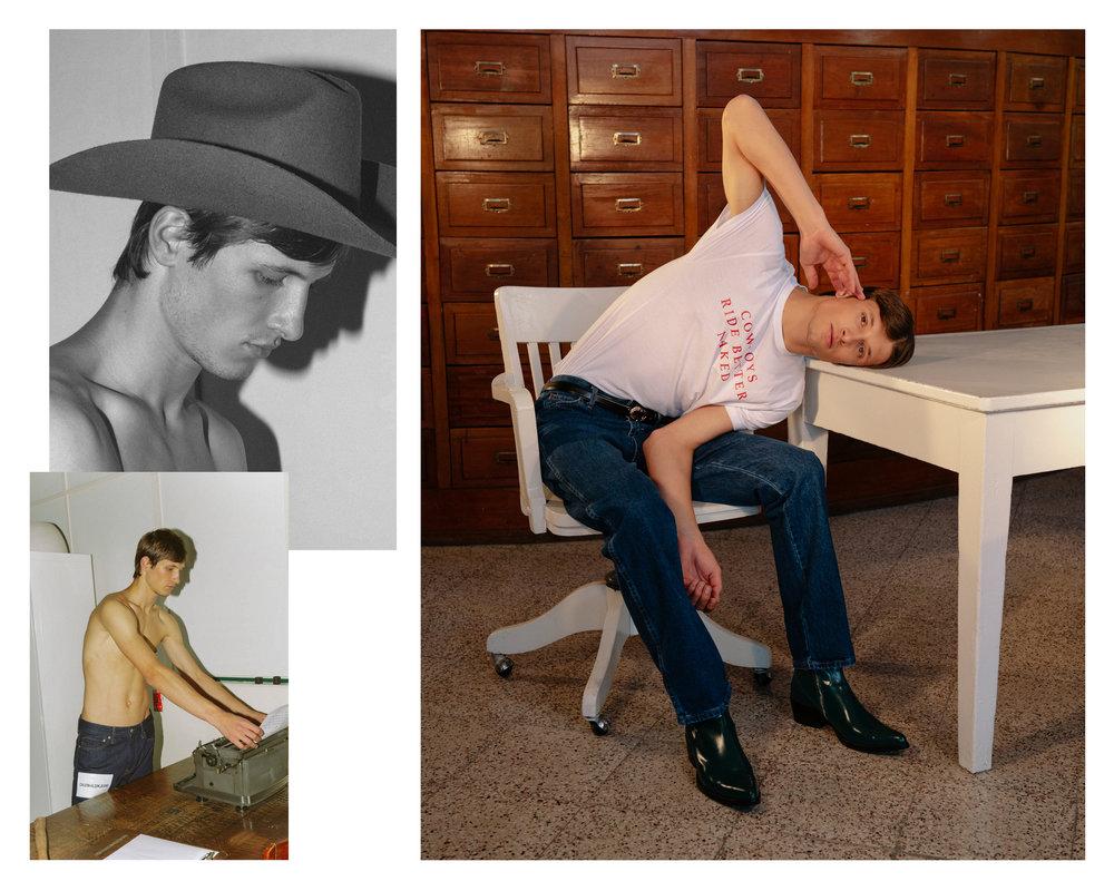 Camiseta y sombrero de  AYANEGUI  y pantalón de  CALVIN KLEIN JEANS .