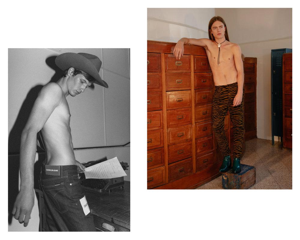 Vadim con sombrero de  AYANEGUI  y pantalón de  CALVIN KLEIN JEANS . Alex con pantalón de  BOTTEGA VENETA .