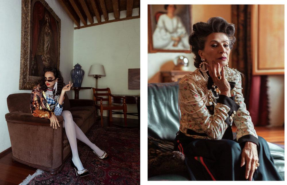 Isis con vestido de  ROBERTO SÁNCHEZ , saco de  ALFREDO MARTÍNEZ , gafas de sol de  CMMN  y zapatos de  DOLCE & GABBANA.  Patricia con  total look  de  GUCCI . Pechera de  JULIO JORDAN  y anillo de  MANI MALAI .