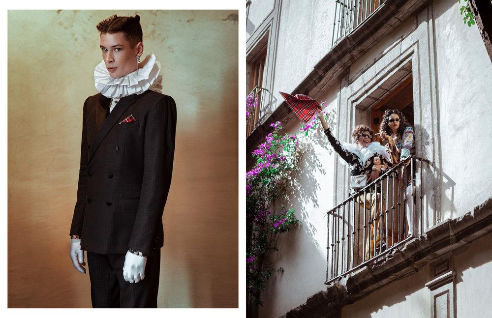 Sean con traje de  DOLCE & GABBANA , camisa de  RCANO , pendiente de  LOUIS VUITTON  y zapatos de  GUCCI . Arturo con saco y bolso de  DOLCE & GABBANA , pantalón de  IVAN AVALOS  y gafas de sol de  DIOR . Isis con vestido de  ROBERTO SÁNCHEZ , saco de  ALFREDO MARTÍNEZ , gafas de sol de  CMMN  y zapatos de  DOLCE & GABBANA.
