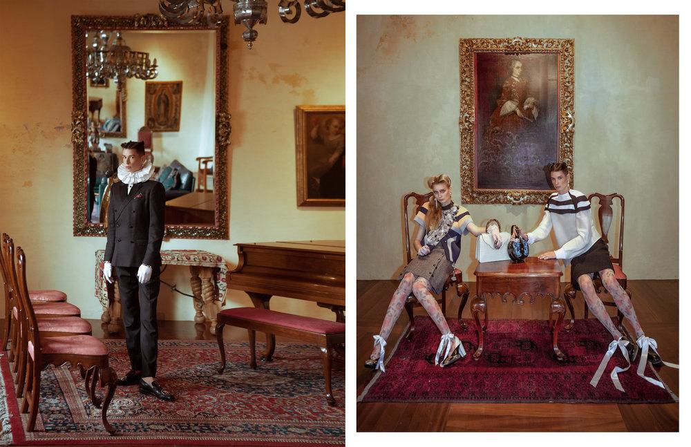 Izquierda: traje de  DOLCE & GABBANA , camisa de  RCANO , pendiente de  LOUIS VUITTON  y zapatos de  GUCCI .   Derecha: Ambos con  total looks  de  LOUIS VUITTON . Emilia con pendientes de  SWAROWSKI  y bolso de  GUCCI .