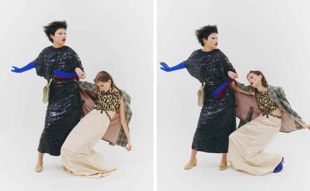 Izquierda: Vestido de  ROCHAS ,  bolso de  GUCCI  y zapatos de  SOLOVIERE   Derecha: Pendientes de  LUTZ HUELLE , chaqueta de  PAULE KA , vestido de  MIU MIU  y zapatos de  PIERRE HARDY