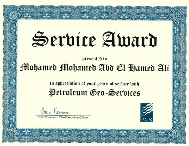 Photo: Long Service Award from PGS