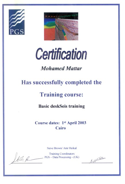 Photo: Holoseis Training Certificate (PGS internal visualization system)
