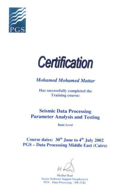 Photo: Seismic Processing Parameters Analysis and Testing course certificate.