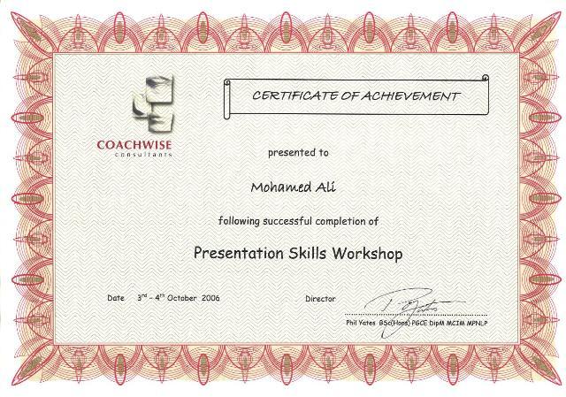 Photo: Presentation Skill Workshop Certificate.