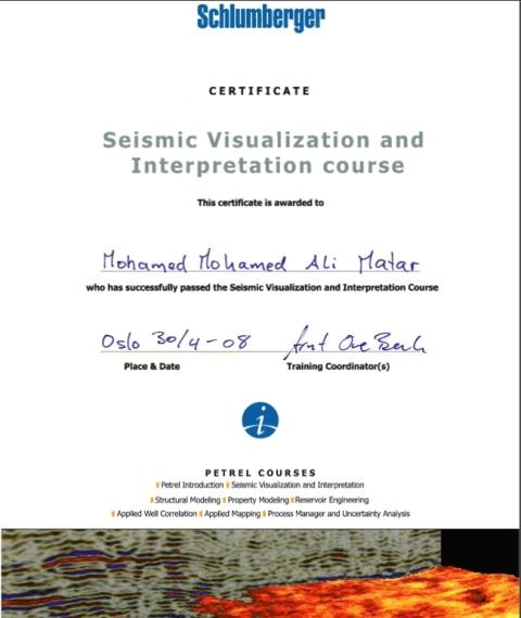 Photo: Petrel Seismic Interpretation Course Certificate.