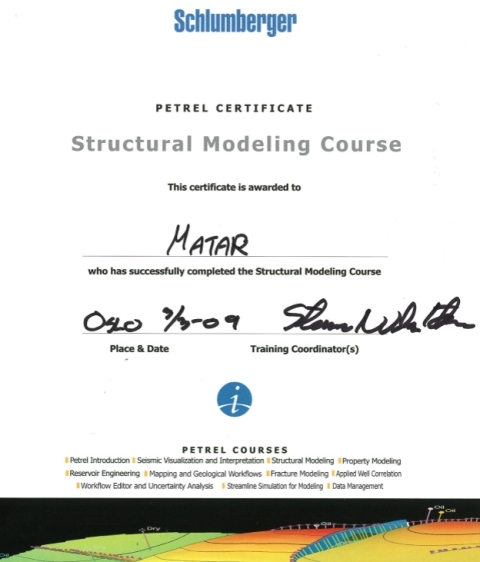 Photo: Petrel Structural Geological Modeling Course Certificate.