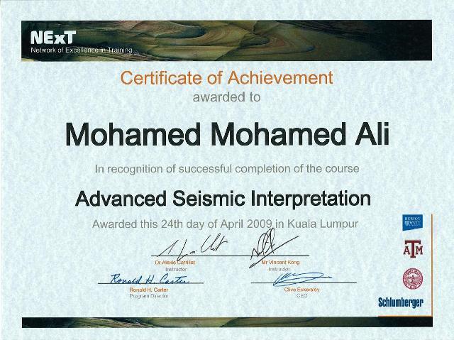 Photo: Advanced Seismic Interpretation Course Certificate.