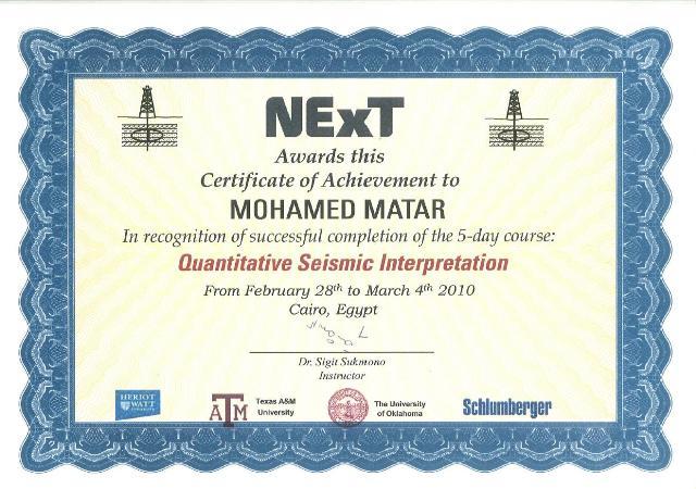 Photo: Quantitative Seismic Interpretation Course Certificate.