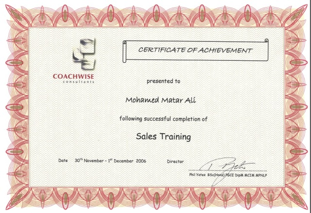 Photo: Sales Training Course Certificate.