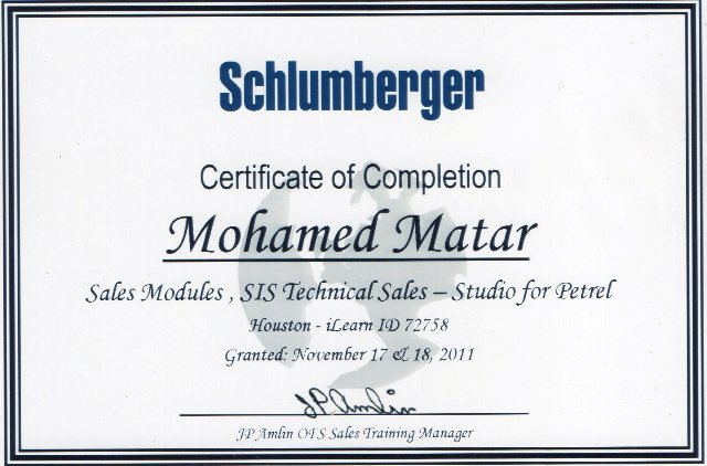 Photo: Schlumerger SIS Sales University - Technical Sales Course Certificate.