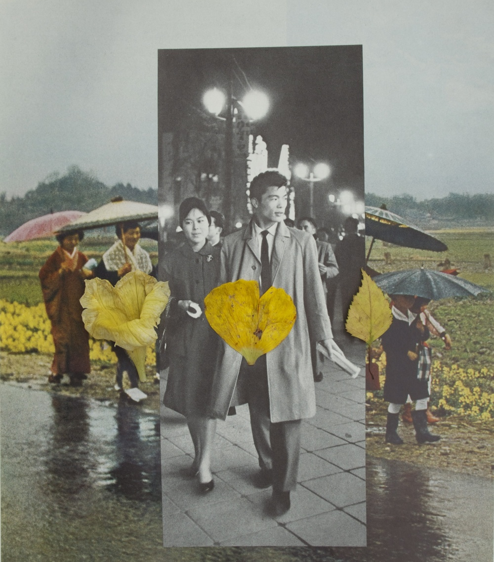 Ultrachrome print of collage and three yellow things