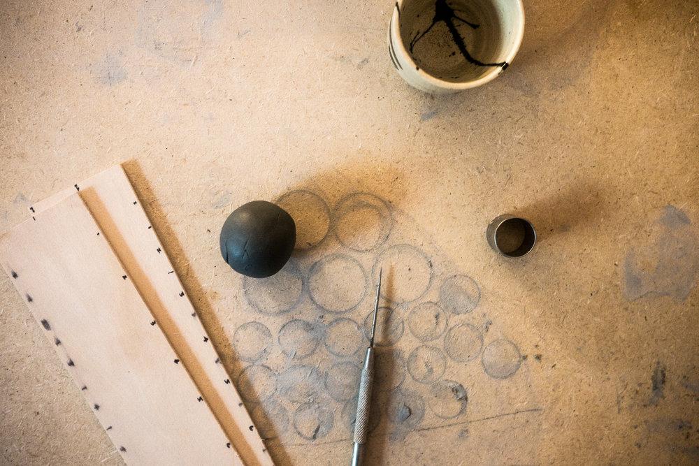 green clay black tinted porcelain.  little clay studio.  workbook.  clay jewelry in progress. littleclaystudio.com