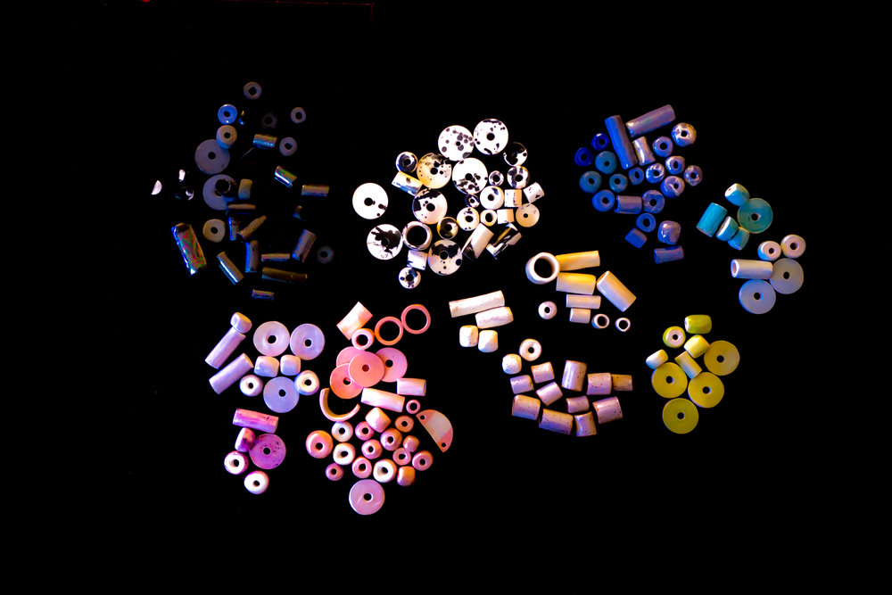 An assortment of Little Clay Studio's beads.