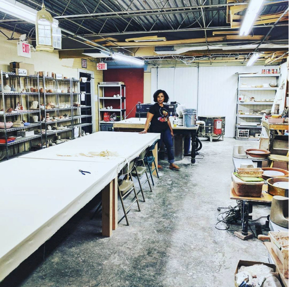 Hand built canvas worktables for clay and pottery.