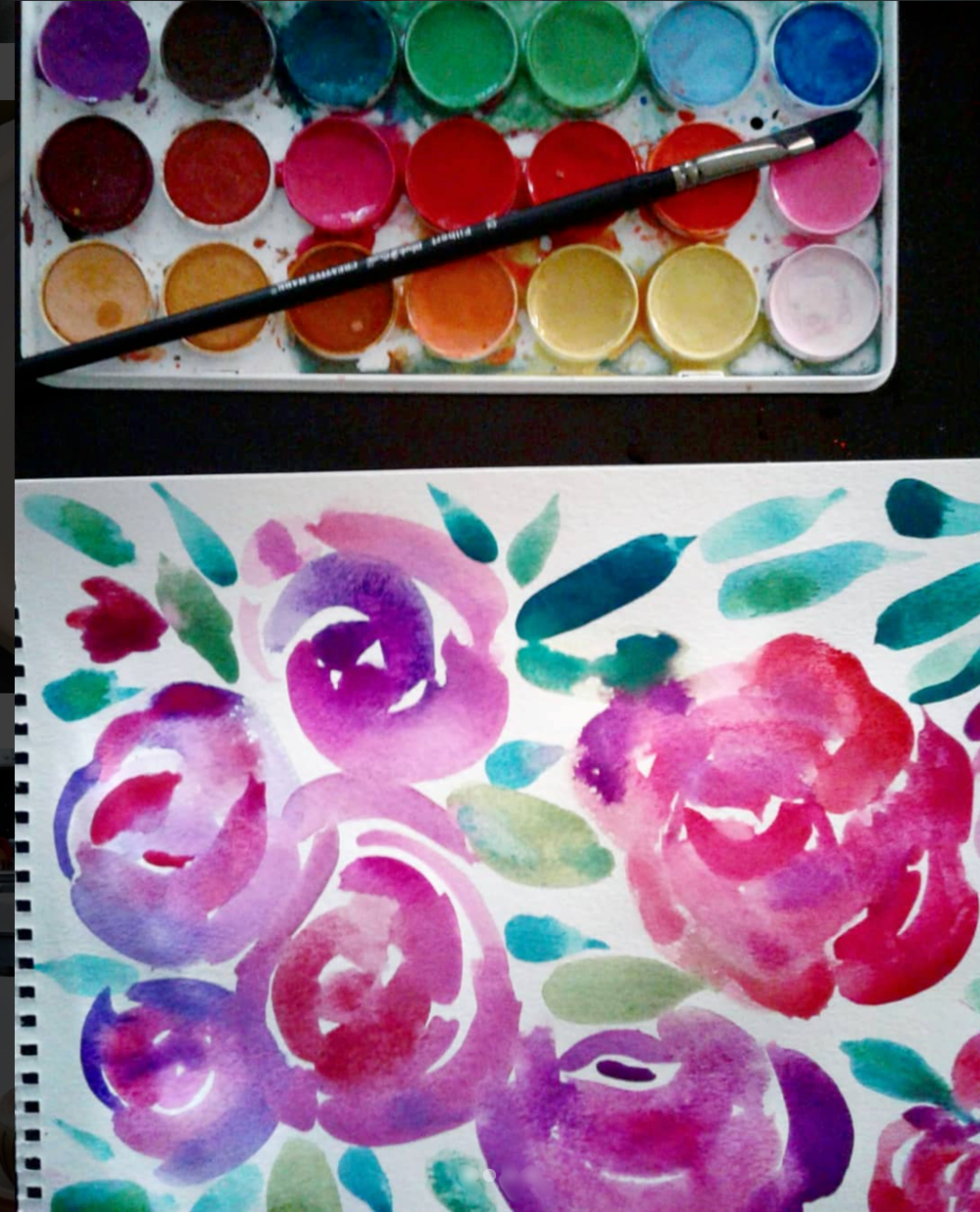 Loose watercolor gouache floral painting in pink, purple, magenta and red roses with emerald green leaves for a porcelain bowl.