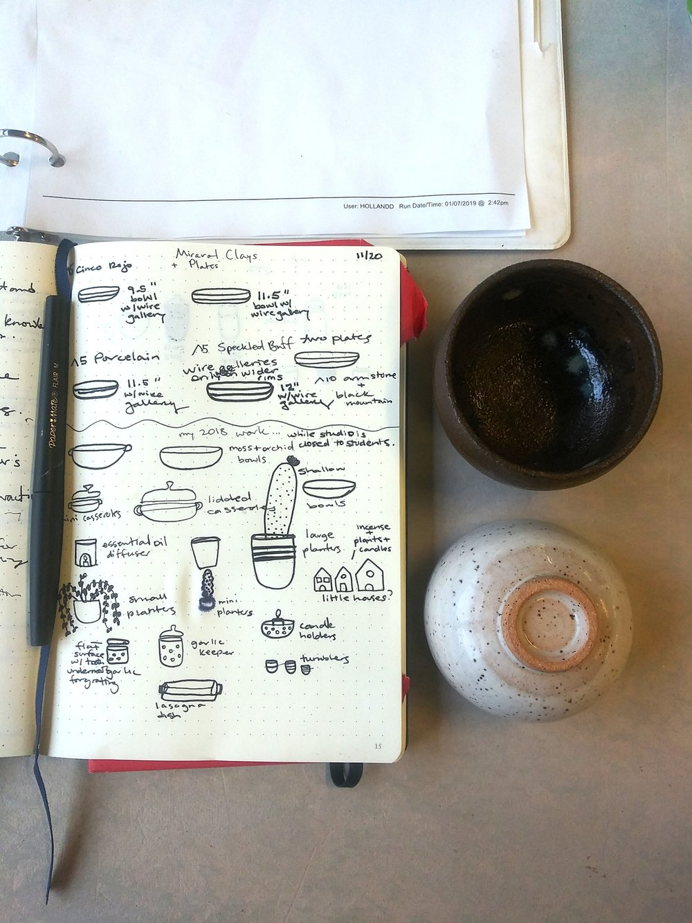 lil bup tiny clay bowl or cup and sketch book by little clay studio made in austin, texas