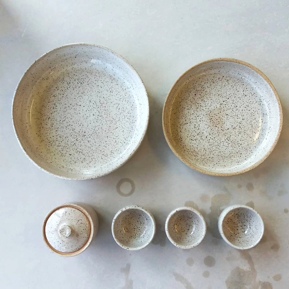 Round Ceramic Speckled Platter made on the pottery wheel by Little Clay Studio in Austin, Texas