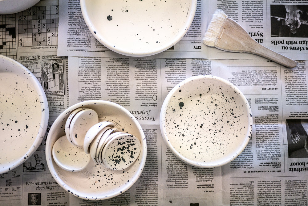 Black and White Blotted Porcelain Bowls made by Little Clay Studio in Austin Texas