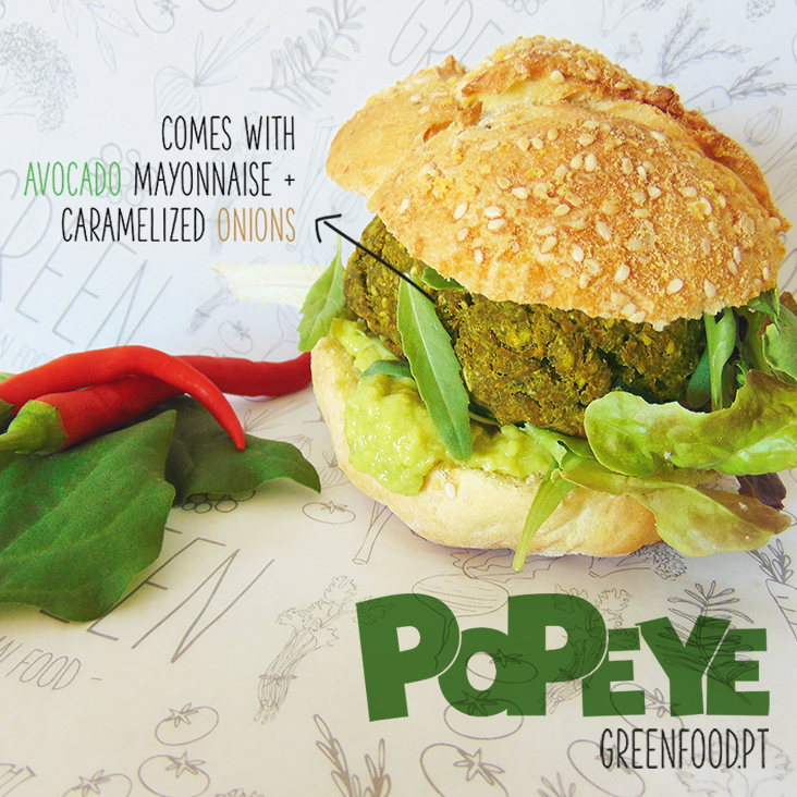 POPEYE Burger Feijão Branco + Espinafre + Courgette e um pouco de pimenta White beans, a bit of chilli pepper, spinach, zucchini, mushroom burger. Wanna be strong and have some big fore arms? Train Jiu-Jitsu or eat lots of like Popeye!