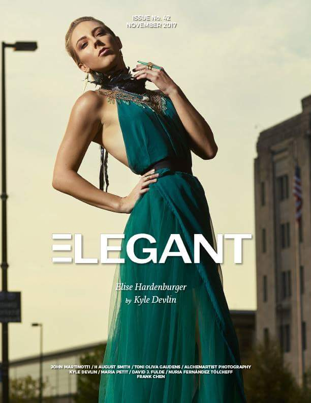 Elegant Magazine: November Cover - Photographer: Kyle Devlin / Model & Creative Director: Elise Hardenburger / Gown: Hopeless Cause / Jewelry: eNVe Designs
