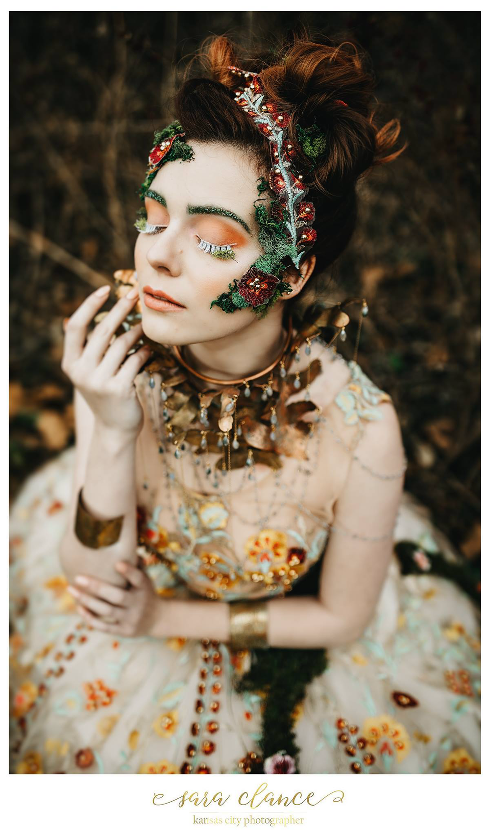 Beau Nu Magazine:Forest Fairy - Photographer: Sara Clance / Model: Audrey White / Hair: Geena Mericle / Makeup: Natalie Sutton / Gown: April Madden / Jewelry: Ngan Vuong - eNVe Designs