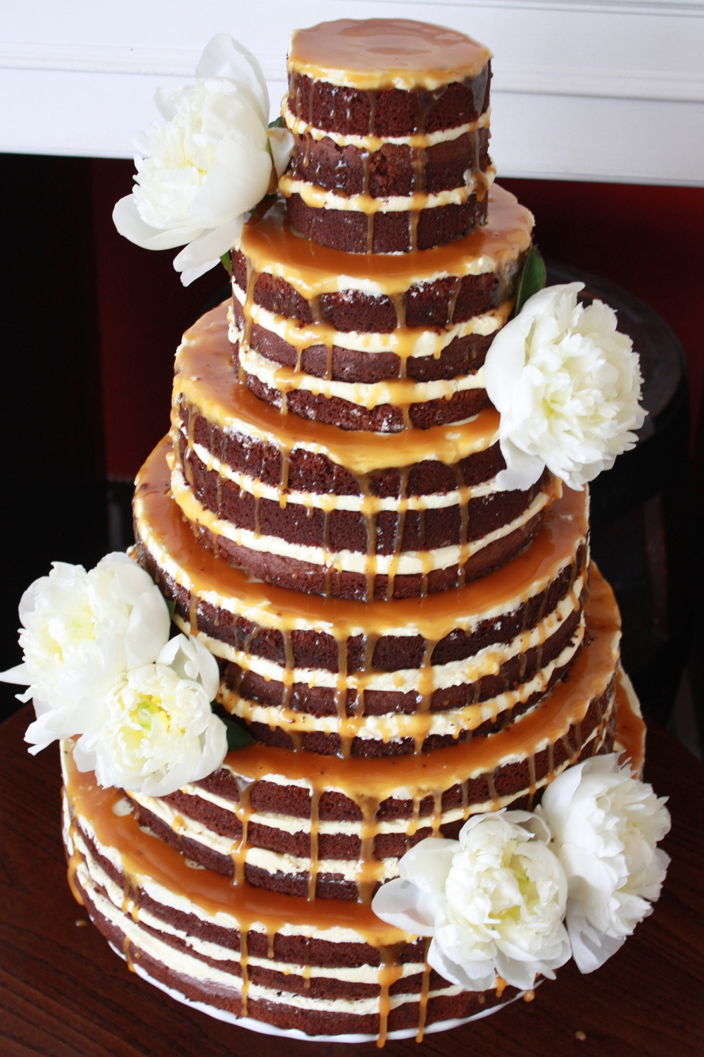 Dripping caramel naked cake