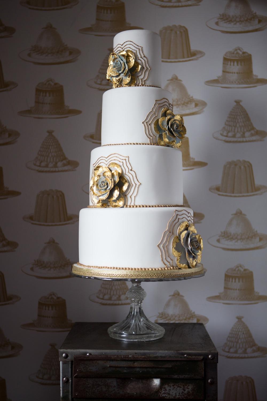 Gold succulent cake