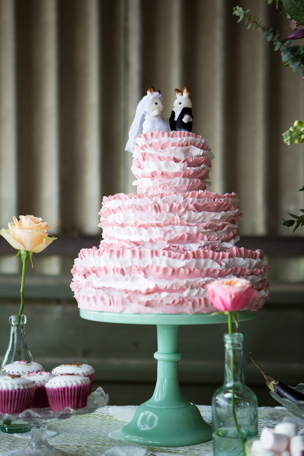 Pink striped ruffle cake