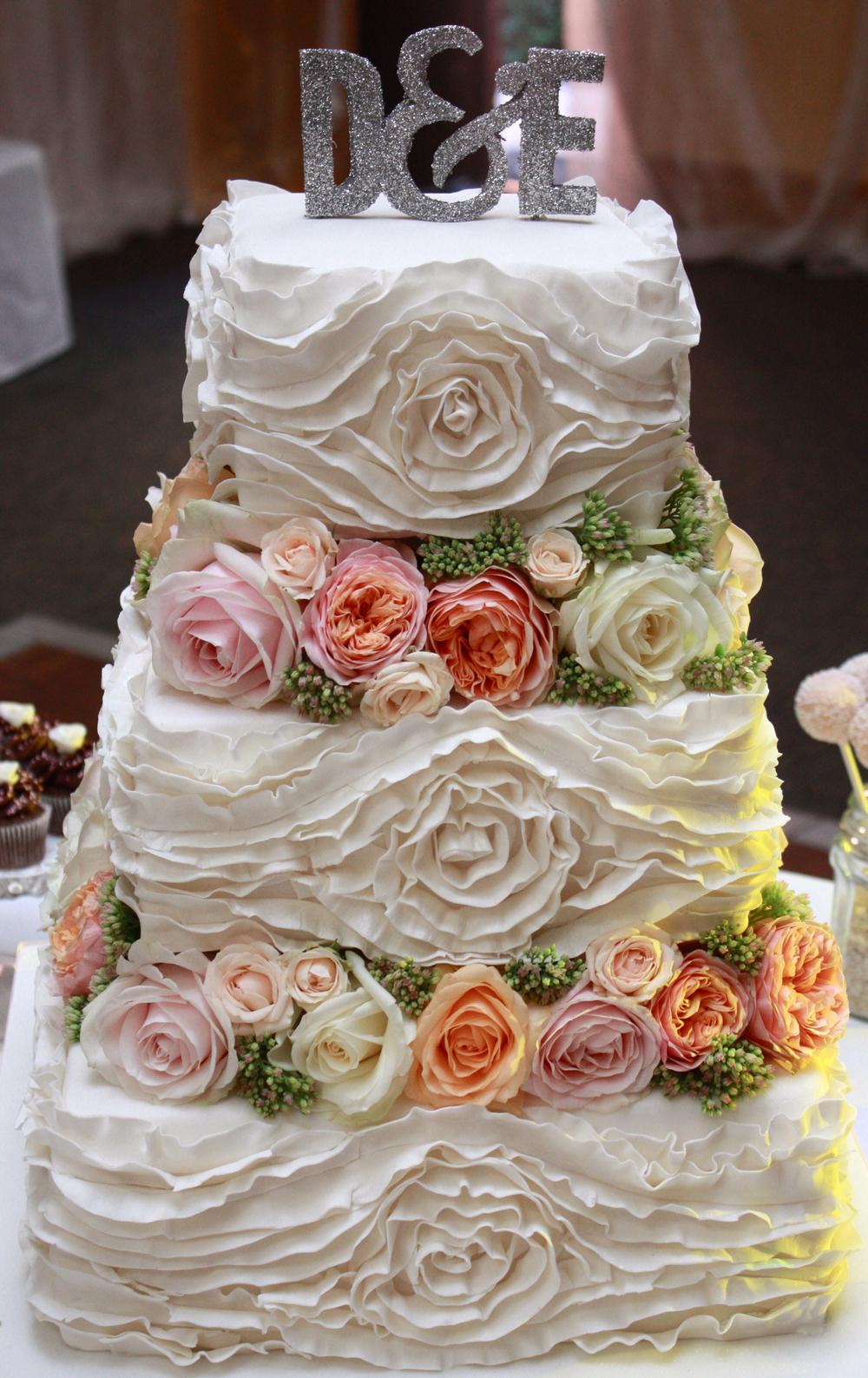 Iced ruffle rose cake