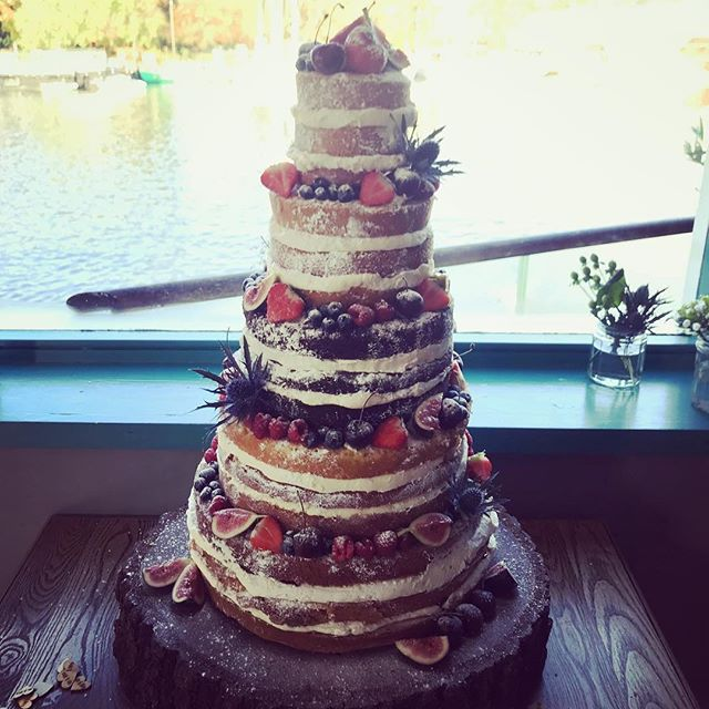 It's a while since we've done a stripped back naked cake, but what a fab setting for this one overlooking the Thames for G&A!