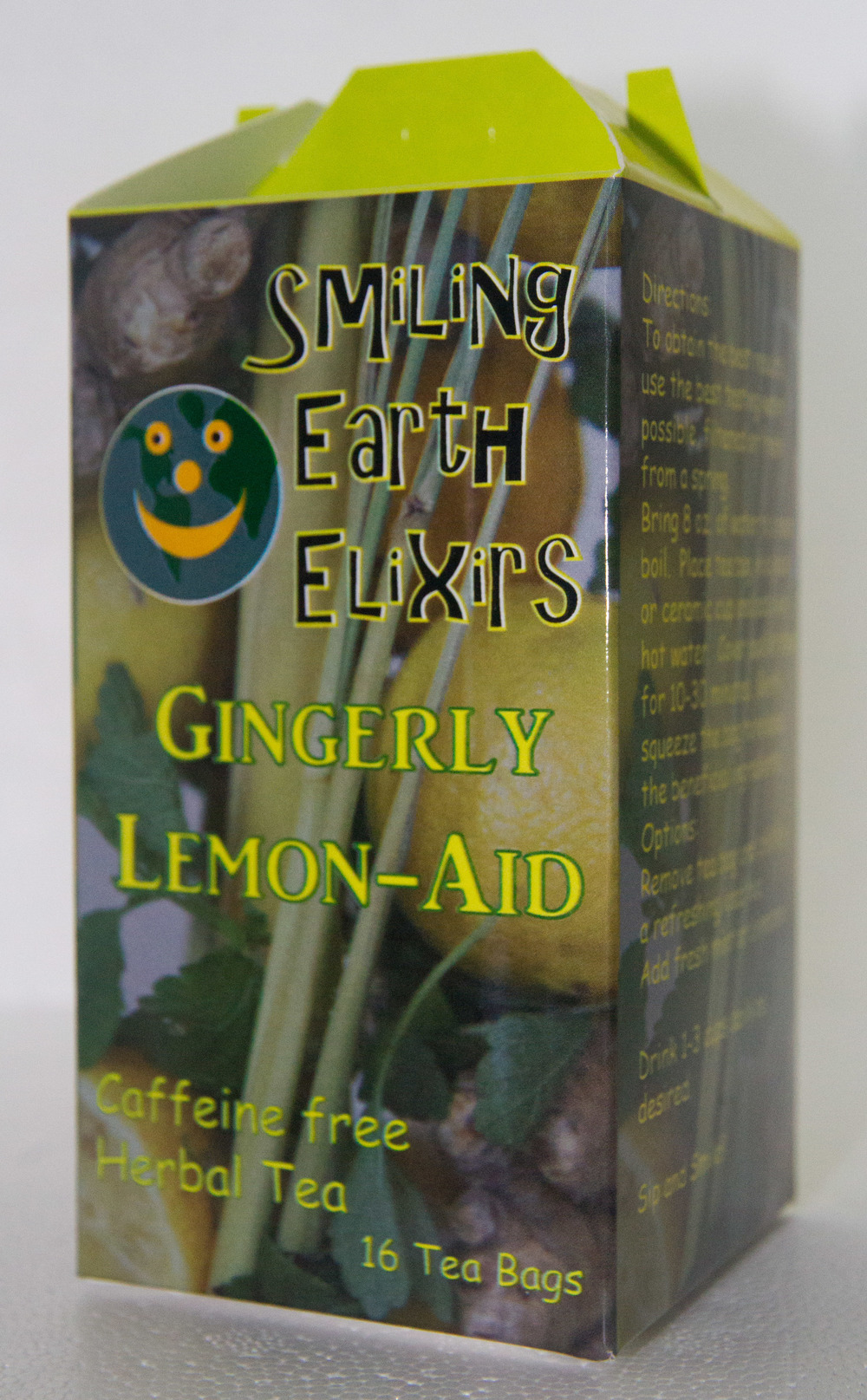 Just like the name implies, a blend of ginger and lemon-y herbs such as Lemon Balm, Lemon Verbena, Lemon, Lemon Peel and Lemongrass.  Aids digestion, helps with nausea and helps the body slow down just a little bit.  A wonderful warm tea for relaxing in the evening, or brew up a bunch and put it in the fridge for a cool refreshing afternoon drink.