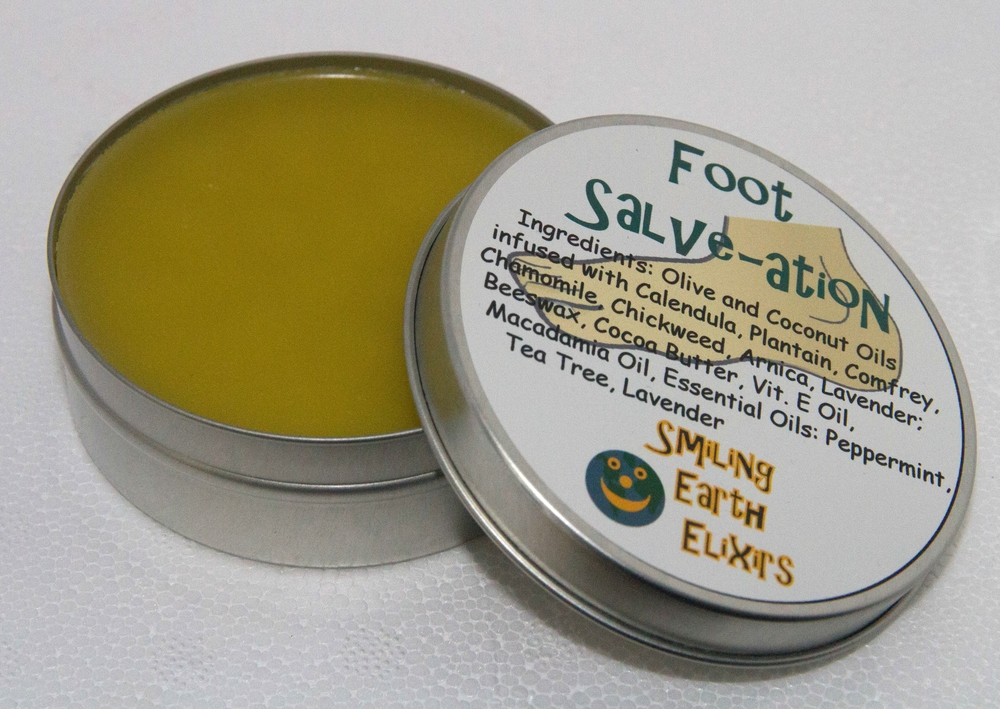 A blend of olive, coconut, Vitamin E and Macadamia oils, local Beeswax from From The Garden, Cocoa Butter, Calendula, Plantain, Comfrey, Chamomile, Chickweed, Arnica, Lavender and Peppermint, Tea Tree and Lavender Essential oils.  This salve is great for dry cracked heals and tired aching feet.  You don't just have to use it on your feet!  Some people have had relief when using this for eczema or psoriasis and other have beat fungus out.  We can't make enough of this stuff!