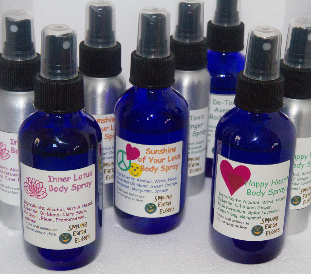 Deodorant sprays for use as a perfume, deodorant, room spray, or for anything.  Happy Heart is a bright floral scent and is supportive to the heart. Inner Lotus is a deeper scent meant for meditation, and support for the crown and third eye chakras. It will encourage your inner lotus to bloom! Detox is another deep scent with some lighter tones.  Good for the detox process and lymph drainage. Sunshine of Your Love is a light citrusy-fruity scent. Cheerful, uplifting and energizing!   Available in a blue glass spray bottle-approx. 4oz.  Or an aluminum bottle safe for travel approx. 3oz.