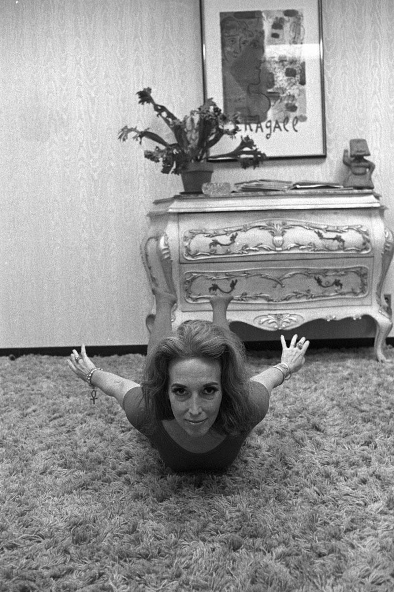 Helen doing yoga in her office.