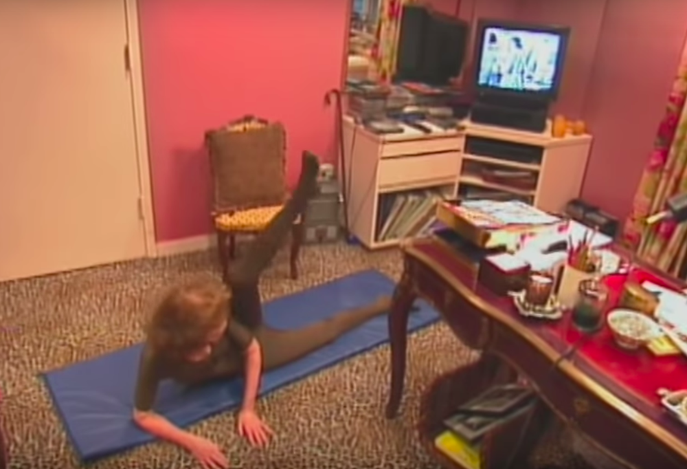 Helen working out in her office.
