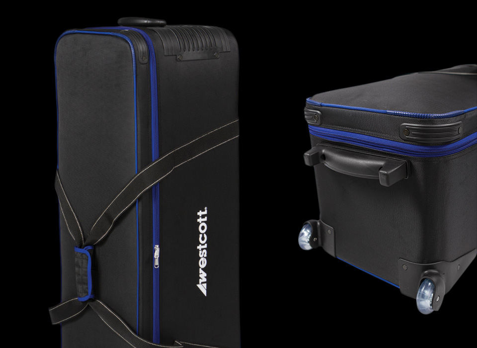Extra Large Storage - This deluxe soft-padded carry case is designed to easily wheel, transport and protect large lighting equipment up to a four-light kit. It can store lights, reflectors, cables, light stands, umbrellas, and more.