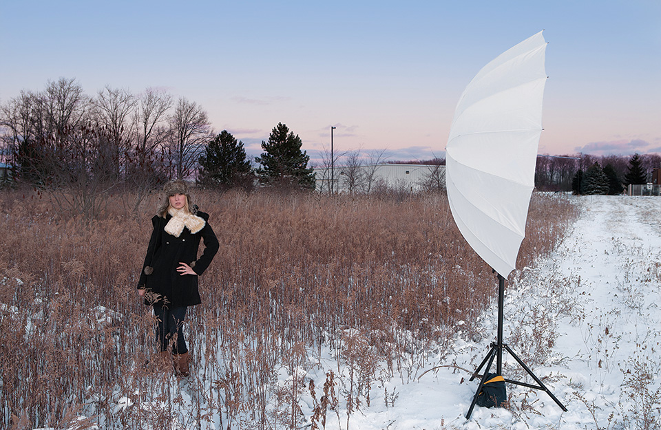 Soften and Diffuse Light - Looking to soften and expand the output of your studio light or flash? Shoot your light source through a 7' diffusion umbrella for large, glamorous lighting.