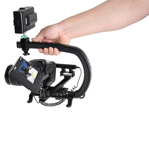 Custom Formulated Polymer Grip - The Scorpion Utilizes a Specially Formulated Polymer Grip that virtually sticks to your hand. This tacky feel allows the camera operator to confidently float the Scorpion Rig on their fingertips reducing camera shake and vibration.