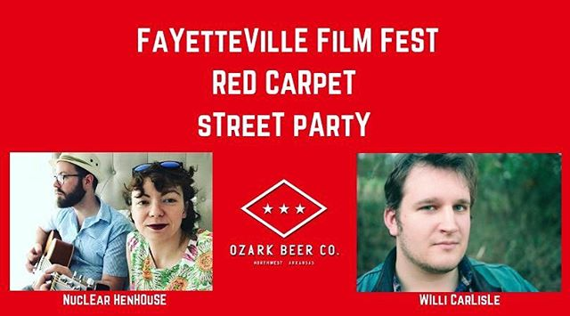 We're excited to announce our musical guests for the Opening Night Red Carpet Street Party on Thursday 9/20!  Nuclear Henhouse (the new duo of Brittany Stephenson and Zac Ball) will open the night, playing from 5:30-7pm and Willi Carlisle will be taking the stage from 7-8:30pm. These Fayetteville favorites have become increasingly difficult to catch locally as they spend so much time on the road. Catch them while you can at our FREE party on Center Street!  https://www.facebook.com/events/1971590566231173/?ti=ia