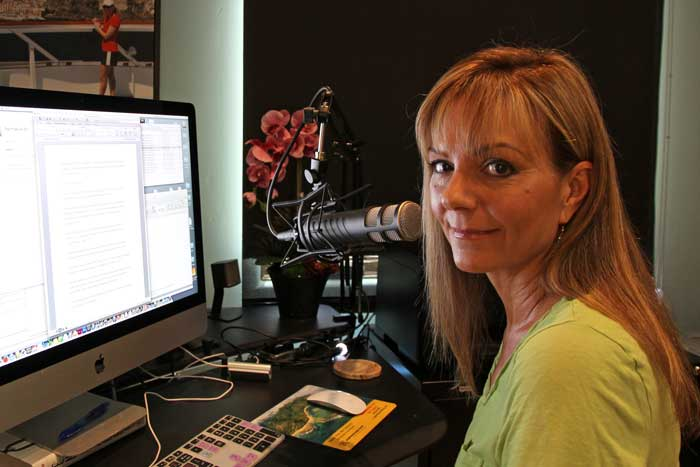 Sheri Dettman recording in the video studio